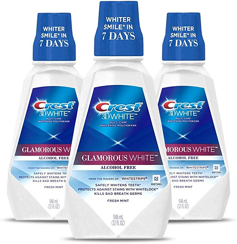 Crest 3D White Luxe Glamorous White Multi Care Whitening Fresh Mint Flavor Mouthwash Pack Of 3