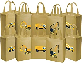 Ava & Kings Fabric Tote Party Favor Goodie Gift Bags for Candy, Treats, Toys, Loot - Birthdays, Showers, Easter, Halloween, Lunch, Grocery - Set of 10 - Construction Work Theme
