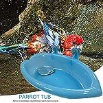 Oiseau Baignoire Bol Bassin Suspendu Birdbath Jouet Pet Perroquet Budgie Perruche Perruche Cockatiel Cage Douche Alimentation Nourrisseur avec Miroir #3