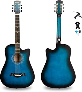 Kabat 38 inch Acoustic Guitar in Full Size Beginner All Wood Cutaway Starter Set with Free Capo/Picks/Strap (BLUE)