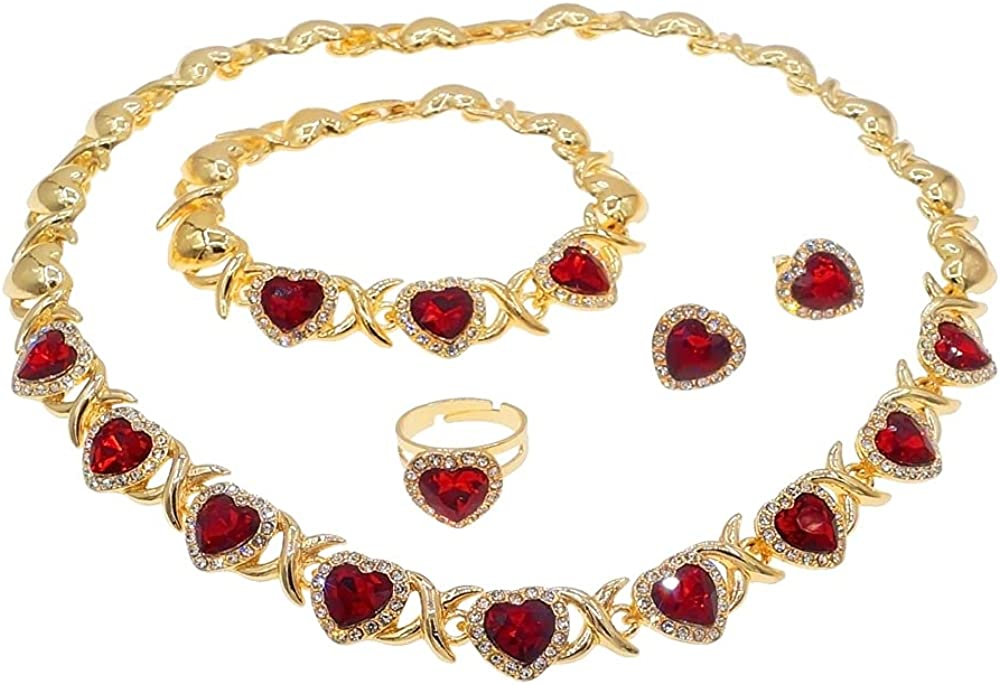 Women's Girls Hugs & Kisses XOXO Red Hearts Complete 4 Pieces Necklace Set Includes Necklace Ring Bracelet & Earrings Real Gold Plated Layered