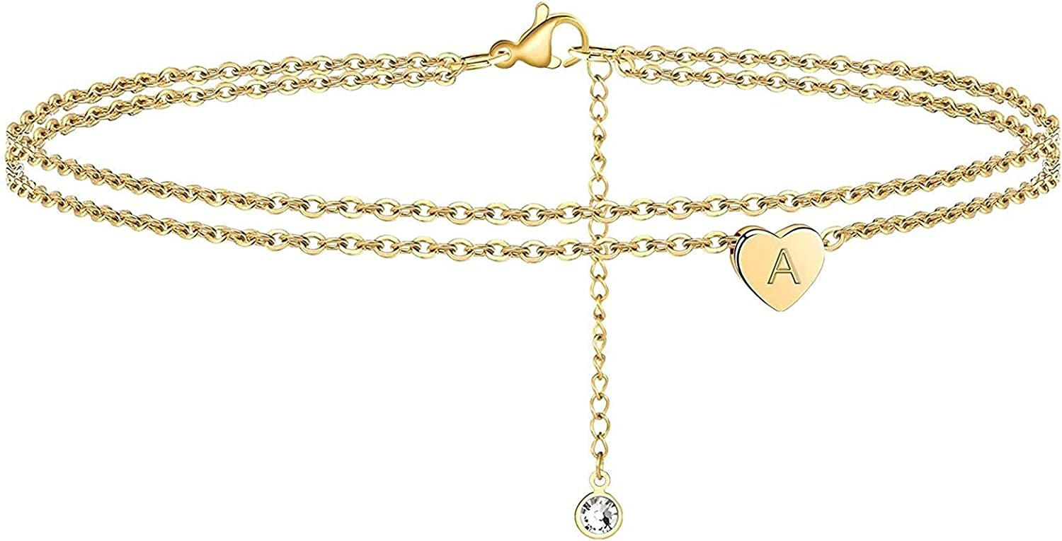 VUTRIEU2K Initial Anklet Layered Dainty Tiny Heart Charm Handmade Carved Alphabet A-Z Letter Ankle Bracelet Beaded Foot Chain Personalized Name Anklets Summer Cute