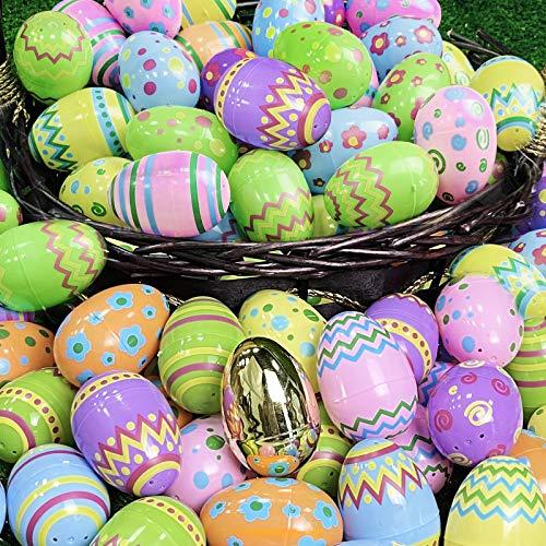 AMENON 50 Pack Painted Pastel Easter Eggs Include 1 Golden Egg, 3.1' Jumbo Plastic Surprise Egg Bulk for Filling Treat Easter Basket Stuffers for Kids Boys Girls Spring Easter Egg Ornaments Decoration