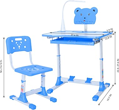 EWGQWB Kids Art Table - Study Desk and Chair, with Led Lamp&Reading Rack, Pull Out Drawer Storage, The Desktop Adjustable