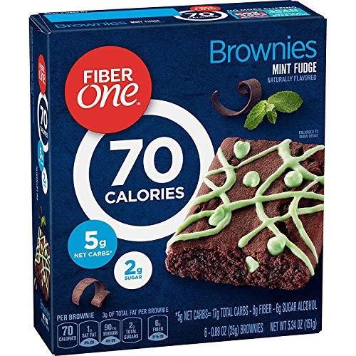 General Mills, Fiber One 90 Calorie, Mint Fudge Brownies, 6 Count, 5.34oz Box (Pack of 3)