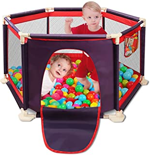 Portable Safety Kids Playpen Lightweight Assembled House 6-Panel Mesh Play Yard with Sturdy Bases Anti-Skid Pads Blue and Red