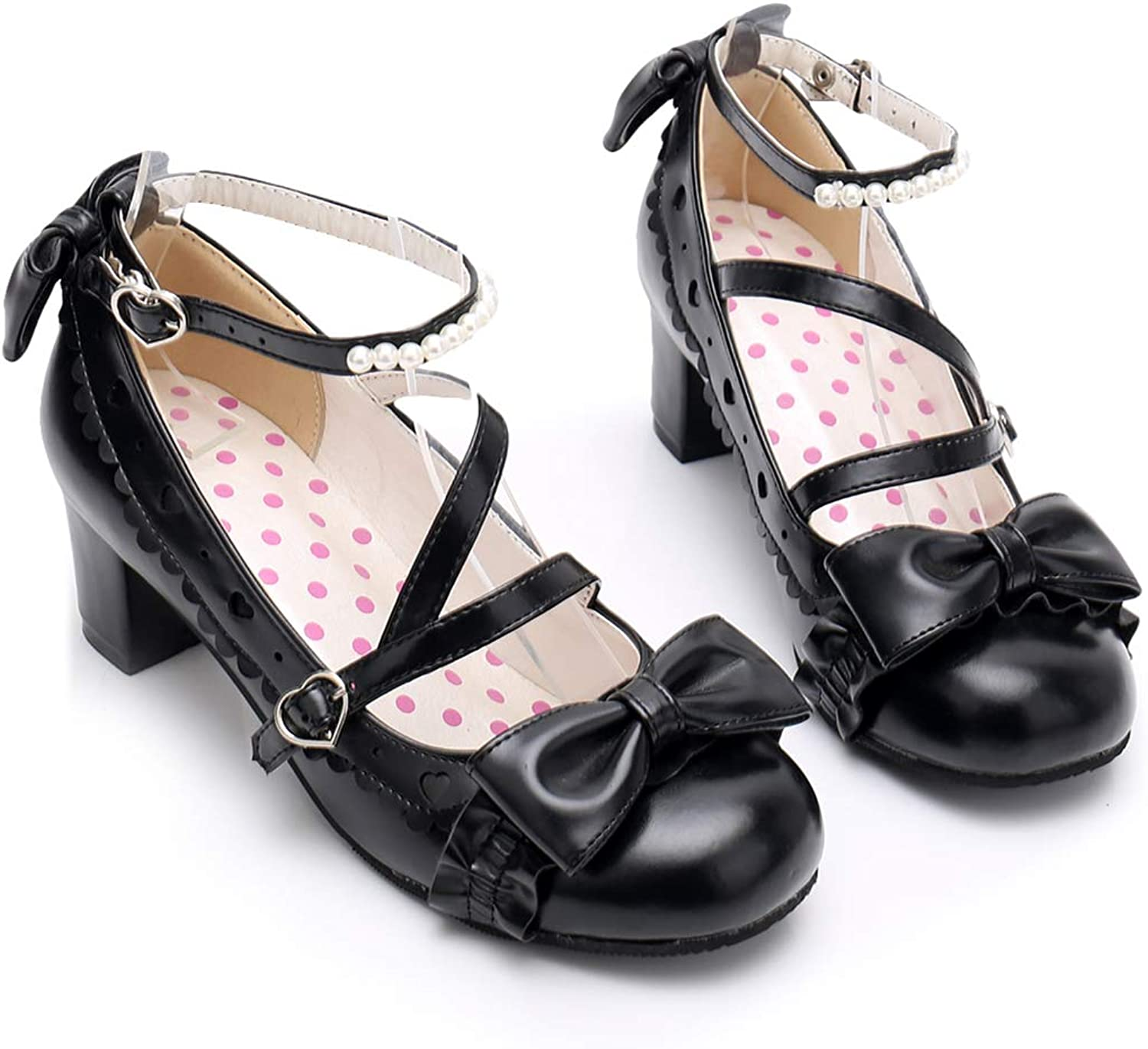 Women's Ankle Strap High Heel Pumps Sweet Lolita Princess Party Dress shoes