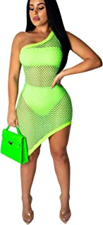 Women One Shoulder See Through Asymmetrical Hollow Out Fishnet Cover up Dress 3 Piece Beach Outfits