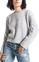 Rag Poets RW184623 Marina Cropped Pullover Sweater in Silver Scone