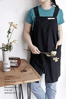 WvvTee Nordic Minimalism Apron Straight Plus Size,Wide Shoulder Strap Cotton Linen,for Women Girls Gardening Painting Bakery Flower Shop Waitress