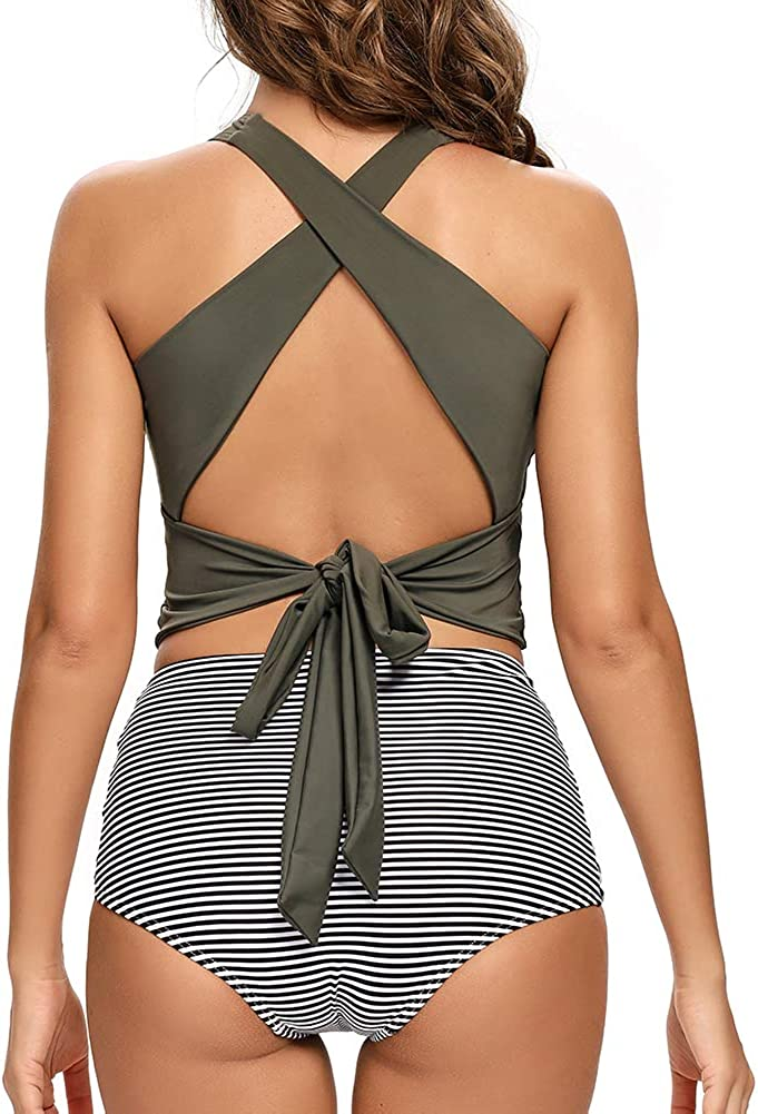 Dixperfect Womens High Waisted Tummy Control Two Pieces Swimwear Bathing Suit Full Bust Bikini