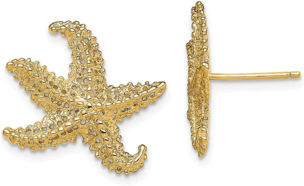 14k Yellow Gold Textured Starfish Post Stud Earrings Animal Sea Life Fine Jewelry For Women Gifts For Her