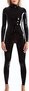 no-branded Sexy Black Latex Catsuit Rubber Zentai Suit Neck Entry Rubber Bodysuit with Crotch Zip Women`s Cat-Suit LCMUS (...