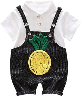 Jugendhj Babysuit 🇨🇦🇨🇦Toddler Baby Boy Kids Cartoon Stripe Lapel Tops T-Shirt Straps Short Outfits Set