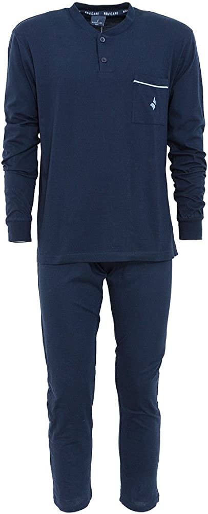 Navigare, pigiama per uomo,in cotone, manica lunga, collo serafino,100% cotone 14280B