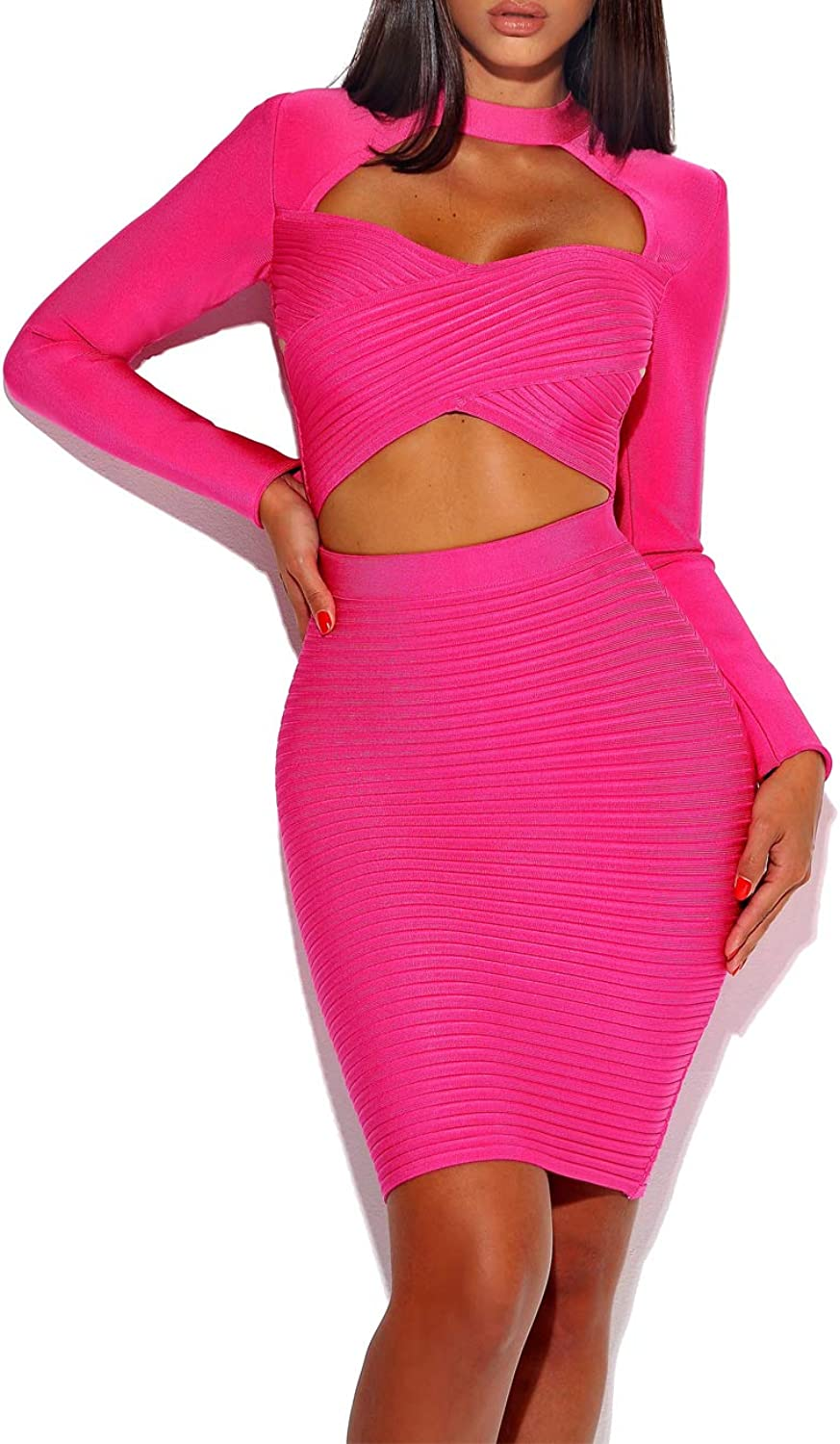 Whoinshop Women's High Neck Front Cut Out Long Sleeve Night Club Party Dress