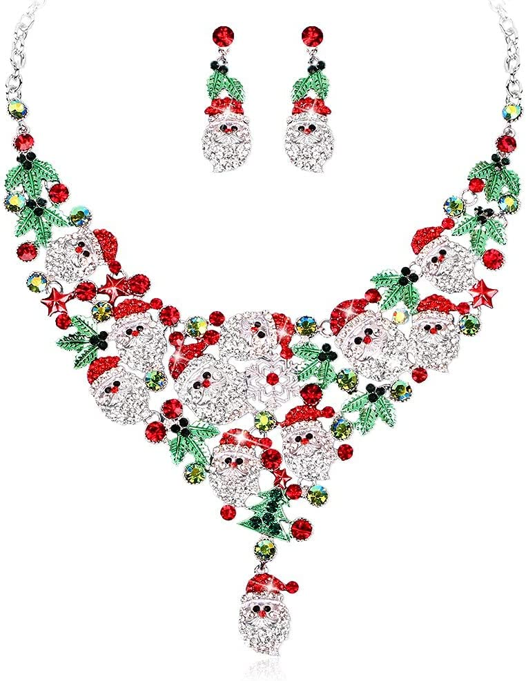 baidicheng Jewelry Set Santa Claus Bib Necklace Earrings Rhinestones Christmas Jewelry Set Party Costume Accessories (Metal Color : Style -5)