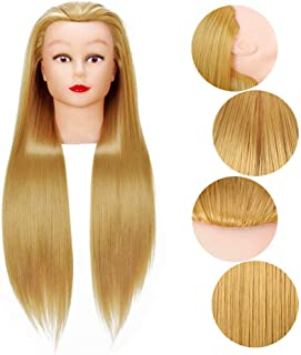 Cosmetology Mannequin Head Hair Styling 26-28inches Training Head Synthetic Fiber Manikin Head Doll Head with Clamp (27#)