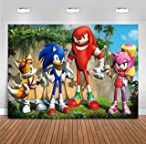 Mountain Scenery Photo Background Cartoon Photography Backdrop for Baby Boys Sonic Themed Birthday Party Supplies Baby Shower Photo Booths Studio Props Vinyl 5x3ft Cake Table Banner