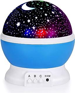 DPL - TOPLUSS LED Night Light Moon and Star Romantic Rotating Sky Cover Projector (Blue)