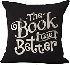 Book Lover Reading Book Club The Book Was Better Black Background Cotton Linen Decorative Throw Pillow Case Cushion Cover Square 18 X18