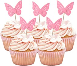 HOKPA Butterfly Glitter Cupcake Cake Toppers, Baby Shower Dessert Food Picks, Kids Birthday Party Toppers Picks Decoration...