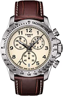 Tissot V8 T106.417.16.262.00 Ivory / Brown Leather Analog Quartz Men's Watch