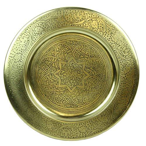 Casa Moro Marokkanisches Serviertablett Nermin Ø 40 cm rund aus Metall in Antik-Gold Look | Kunsthandwerk aus Marrakesch | Orientalisches Teetablett Farbe Gold für kreative Dekoration | TTB407G