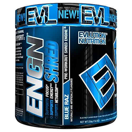 Evlution Nutrition ENGN SHRED Pre Workout Thermo Fatburner Pulver, Energie, Gewichtsverlust, 30 Portionen (Blue Raz)