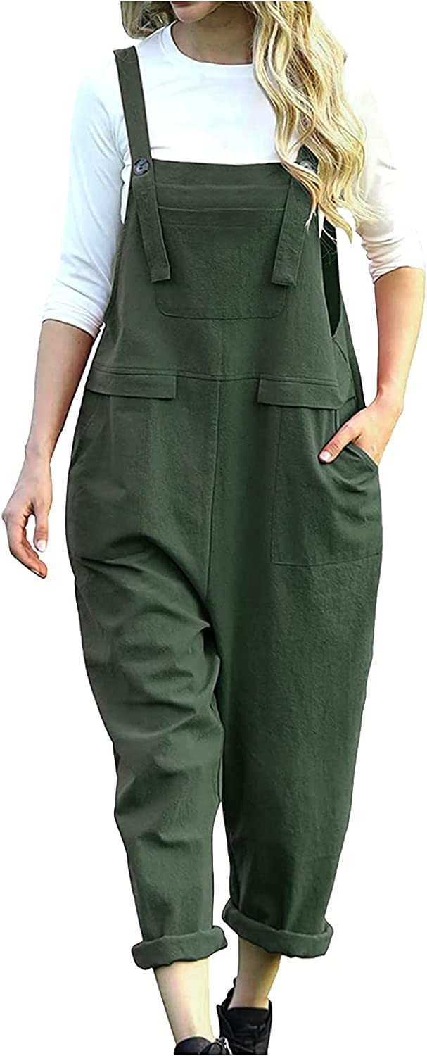 Misaky Women Long Casual Loose Bib Pants Overalls Baggy Rompers Jumpsuits With Pocket