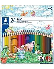 STAEDTLER Noris Club 144 NC24 kleurpotloden, verhoogde breukvastheid, zeskant, set met 24 schitterende kleuren, kindvriendelijk volgens DIN EN71, milieuvriendelijk PEFC-hout
