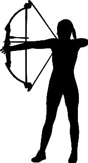 Minglewood Trading Archer - Female Archery Compound Bow Arrow Vinyl Decal Sticker - 5.5