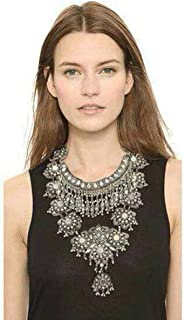 Zhenhui Statement Necklace for Women - Fashion Silver Long Bohemian Indian Jewelry Oxidized Chunky Necklace for Women Big Bib Ethnic Costume Jewelry