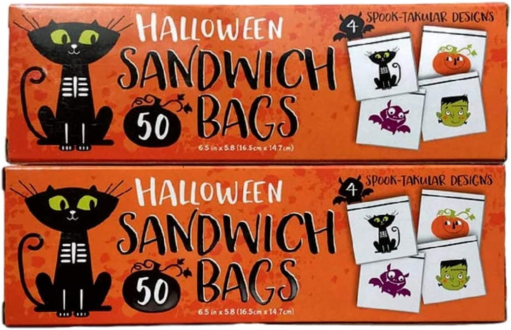 Halloween Sandwich, Snack or Candy Bags With 4 Spooky Designs. Frankenstein, Black Cat, Pumpkin and Bats (2 Pack) 50 Bags Each