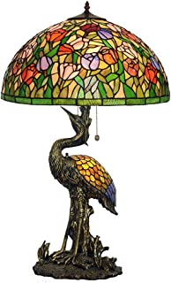 Tiffany Style Table Lamp, Ø 51CM House Bedroom Large Decor Lights, Tulip Art Stained Glass Desk Lamp Lighting with Creative Male&Female Crane Light Base-Male
