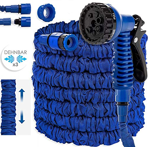 KESSER® Gartenschlauch 45m Flexibler Basic Wasserschlauch Flexible dehnbarer Flexischlauch Multisfunktionsbrause mit 8 Funktionen, Adapter inkulsive passend für jeden Wasserhahn mit Gewinde, Blau