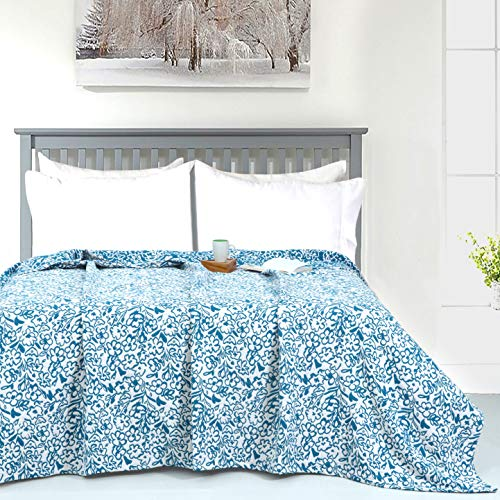 Peacock Blue Matelassé Floral Throw Blanket - King (90 x 108 inches)