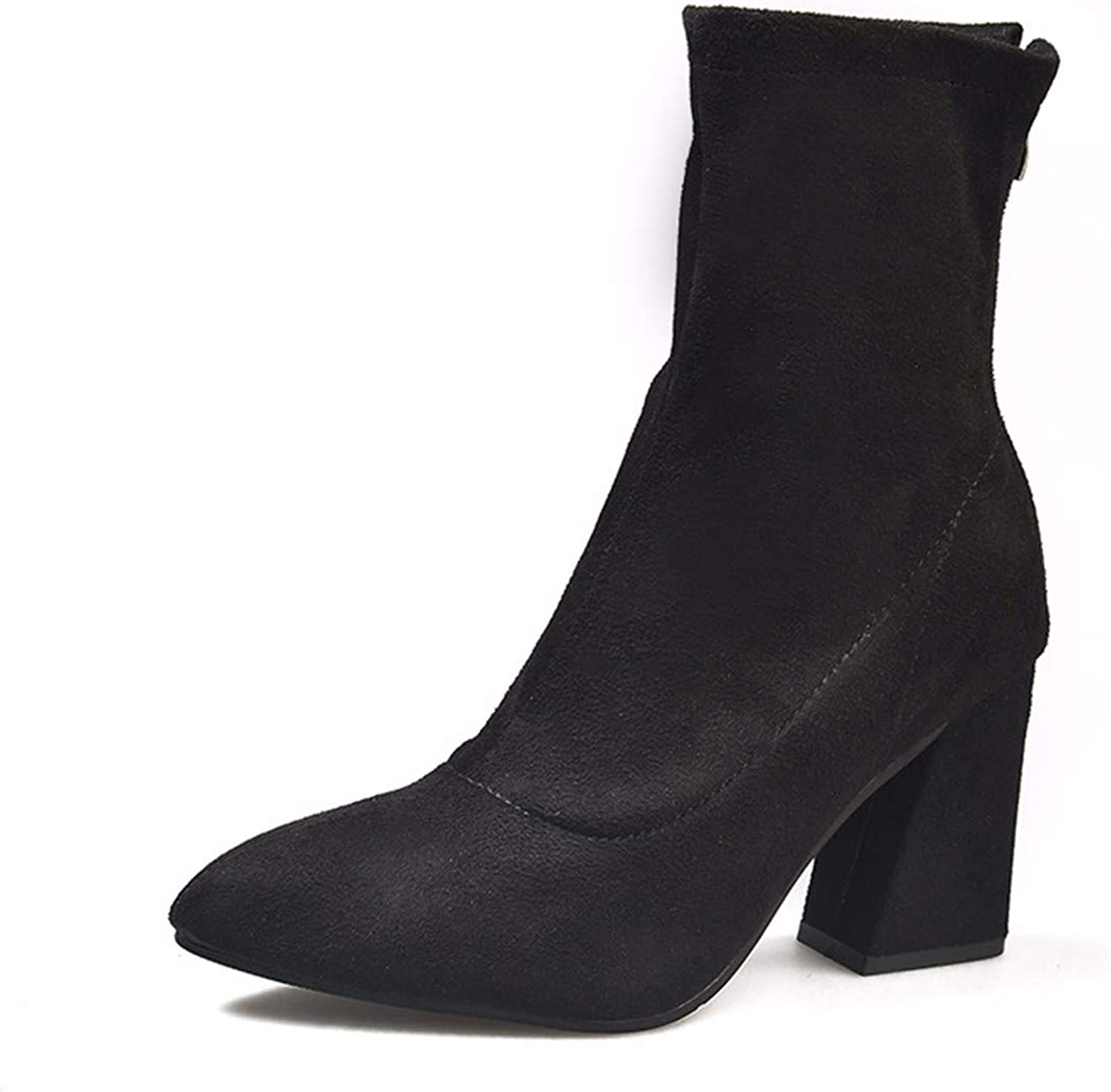 QPGGP-boots Pointed Martin Boots, Autumn and Winter, European and American Wind, Pointed Women, Suede Short Boots, Black.