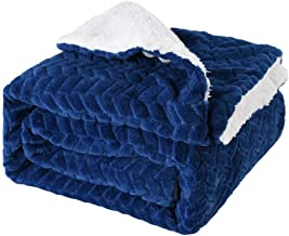 Sherpa Fleece Throw Blanket Soft and Tight Solid Flannel Throw Sofa Bed Blanket Suitable for All Seasons 120x150cm,Blue