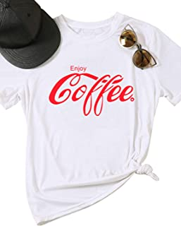 ZJP Women Short Sleeve Shirt Enjoy Coffee Letter Print Casual Crew Neck Tee Tops