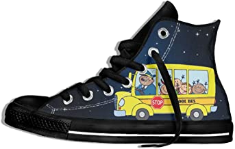 Cartoon School Bus High Top Classic Casual Canvas Fashion Shoes Sneakers For Women & Men