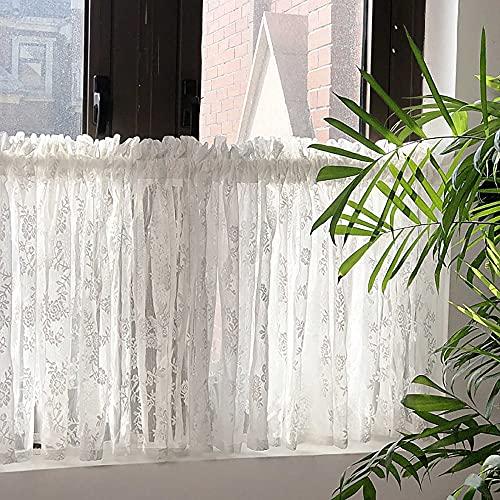 YPSL Cortinas, cortinas con aislamiento térmico de varilla pasante, cortinas de gasa transparente para cocina, dormitorio y sala de estar/Blanco / 90x150cm