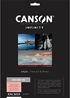 """$39 » Canson Infinity Arches 88 Ultra Smooth Pure White Matte Inkjet Paper, 310gsm, 8.5x11"""", 25 Sheets"""