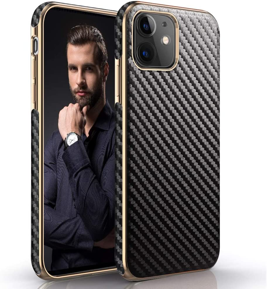 LOHASIC iPhone 11 Case 6.1 inch, Luxury Slim Business PU Leather Soft Flexible Bumper Non-Slip Grip Shockproof Full Body Protective Cover Cases Compatible with Apple iPhone 11 (2019) - Carbon Fiber