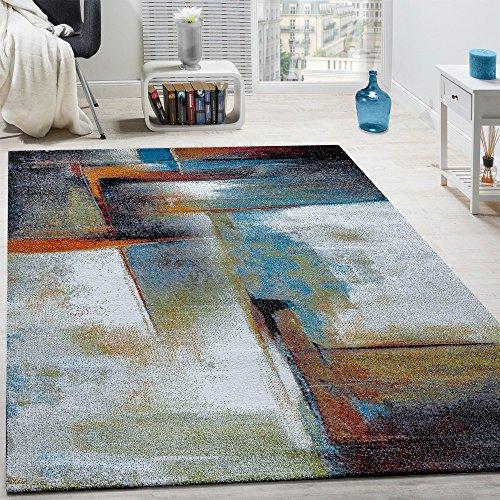 Paco Home Designer Teppich Modern Kurzflor Wohnzimmer Bunt Trendig Meliert Multicolour, Grösse:120x170 cm