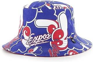 Montreal Expos MLB 47 Brand Cooperstown White Bravado Bucket Hat - Blue