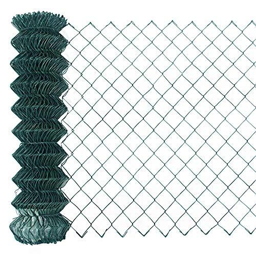 Garmix Maschendrahtzaun Gartenzaun Viereckgeflecht Zaun Grün 65x2,8mm (125cm x 15m)