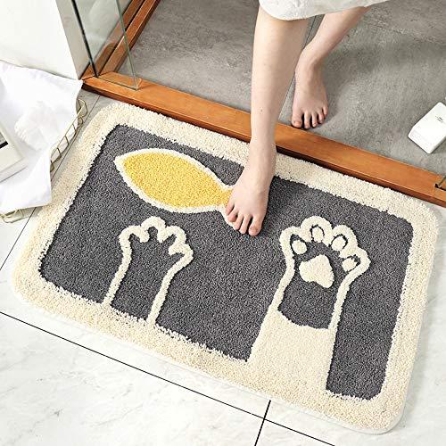 Tany Polyesterfaser Teppiche,BedruckteMuster-Teppich waschmaschinenfest,Ideal für Wohnzimmer,Schlafzimmer usw Katzen- und Hundetatzenmuster,2,45 * 65CM