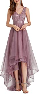 Ever-Pretty Vestiti da Cerimonia e Ballo Stile Impero Linea ad A Scollo a V Hi-Low Elegante Tulle Donna 00793