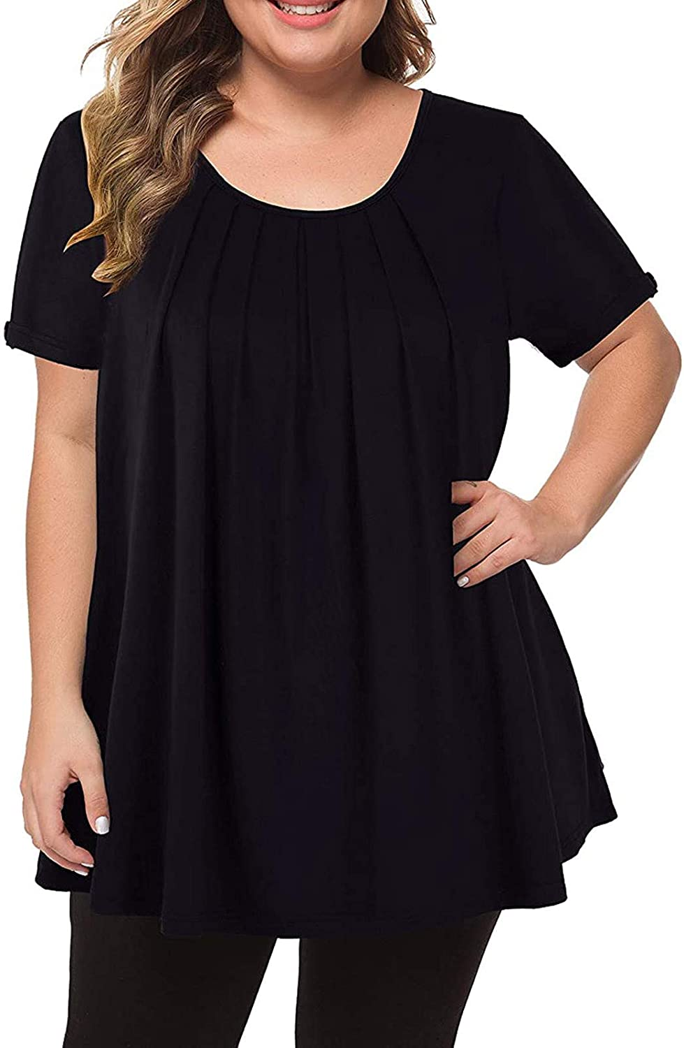 Aukbays Womens T-Shirts Summer Women's Plus Size Tops Short Sleeve Flowy Shirts Casual Tees O Neck Blouses Tunic Tops
